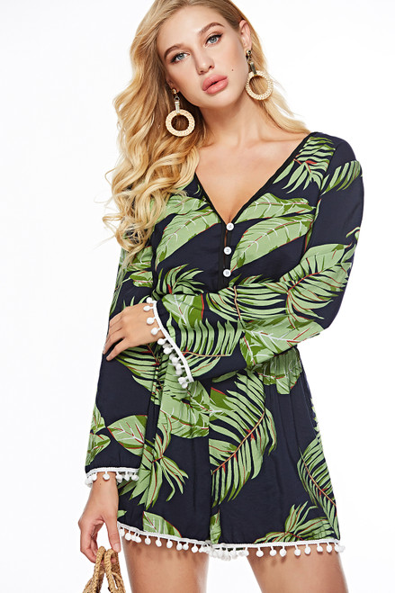 Boho Beach Style Long Sleeve Women Jumpsuit Tassel Detail Tropical Print Deep V Neck Vacation 2019 Summer Black Playsuits S-XL