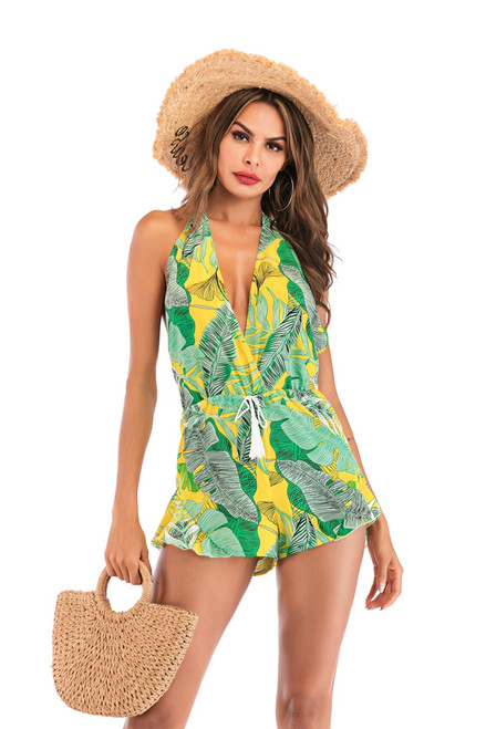 Boho Backless Tassel Drawstring Green Tropical Romper Women Summer Sleeveless Playsuit Deep V Neck Sexy Beach Style Rompers 2019