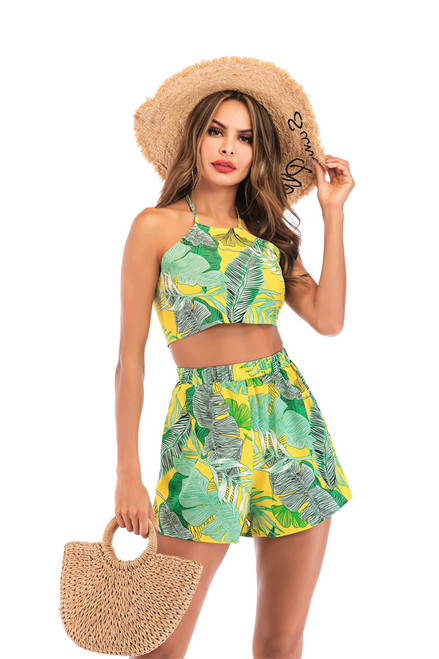 Tropical Green Palm Leaf Print Back Bow Knot Halter Crop Top and Shorts Women Two Piece Outfits Summer Boho Short Sets for Women