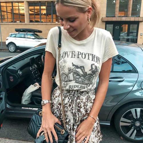 BOHO INSPIRED 2019 t shirt women rock-n-roll motorbike chick print tops summer beige round neck casual tee tops 2019 t-shirts