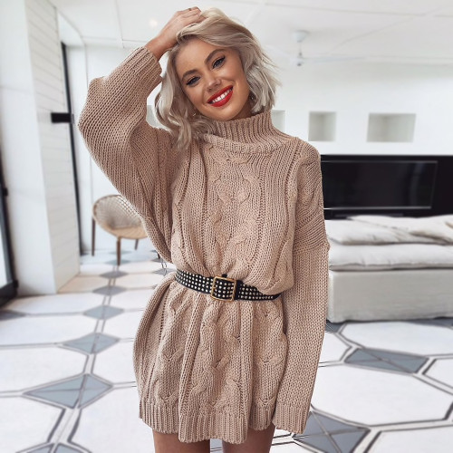 cc5c1426be Women's Turtleneck Long Sweaters Winter Solid Twist Slit Dresses Loose  Knitted Pullover Plus Size Jumpers Warm