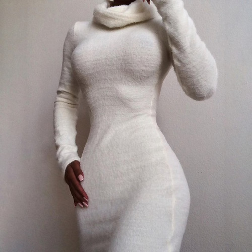 Knitted Turtleneck Sweaters Fluff Long Sleeve Women Casual Pullover Autumn Winter Long Sweater Steetrwear 2019 Bodycon