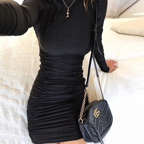 Autumn Long Sleeve Women Dress Solid Ruched Party Mock Neck Long Sleeve Vestido Female Skinny Mini Dresses Robe Femme