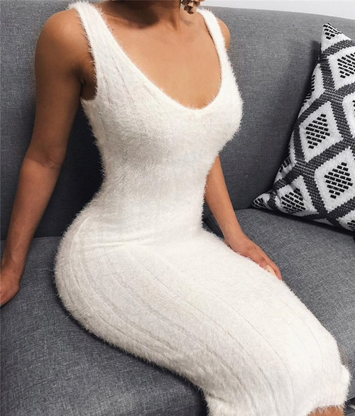Knitted Bodycon Sexy Dress Women Elegant Solid White Slim Party Dress Female V Neck Club Sweater Summer Dress Vestidos