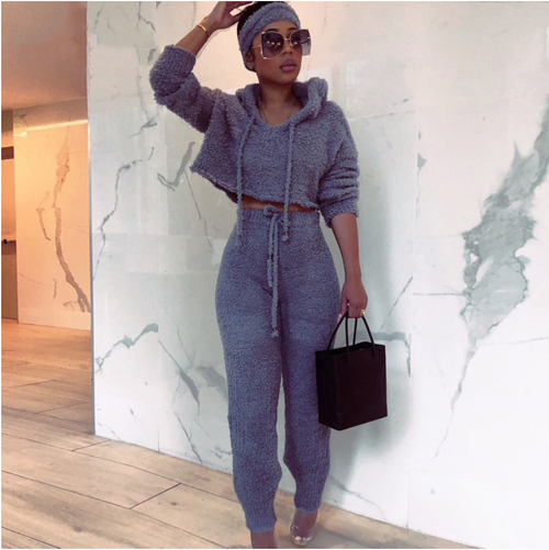 Winter Knitting Sweater Two Pieces Set Long Sleeve Lace Up Hoodies Top And Long Pant Tracksuit Women Outfit 2 Piece Set Women