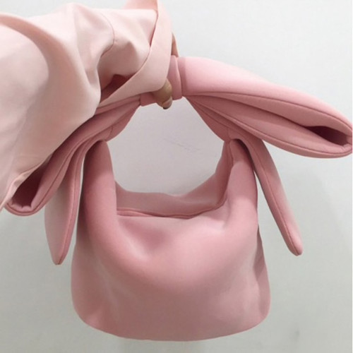 2019 Spring Summer Woman New Personality Pink Color spliced Bow Many Wear Methods Handbag All Match
