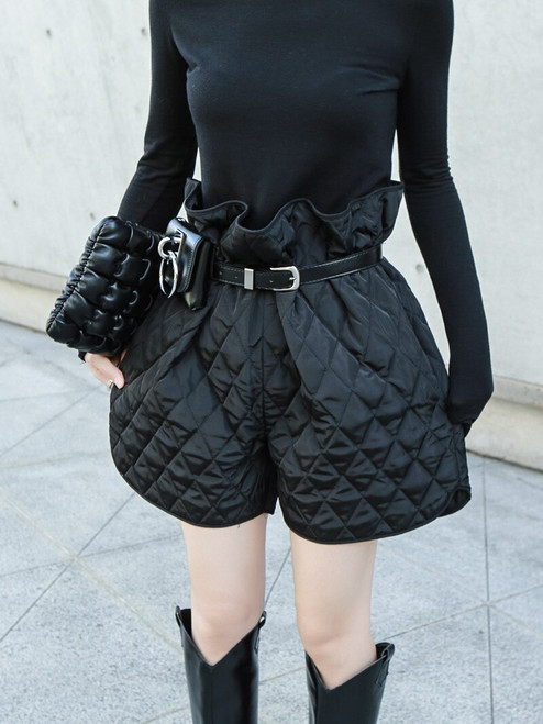Women Black Cotton-padded Wide Leg Shorts New High Waist Loose Fit Trousers Fashion Tide Spring Autumn 2019