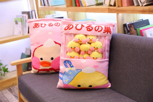 Kawaii 8pcs LaLafanfan Cafe Duck Plush Balls Bag Snack Toy Soft Cartoon Animal Duck Stuffed Doll Sofa Pillow Girlfriend Kid Gift