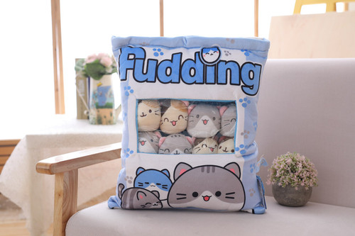 New Big bag Kawaii Cat Plush Balls Bag Snack Toy Soft Cartoon Animal Stuffed Doll Sofa Pillow Girlfriend Kids Gifts
