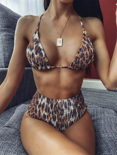 Bikini 2020 mujer Bandage Swimwear Women Leopard String Beachwear Push Up Separate Bandeau Sexy Bodysuit Swimsuit biquini