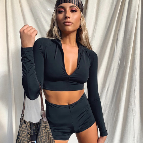 Black Sexy Two Piece Set Zipper Crop Top Shorts Summer Outfits for Women 2 Piece Matching Set Sports Tracksuit C54AA76