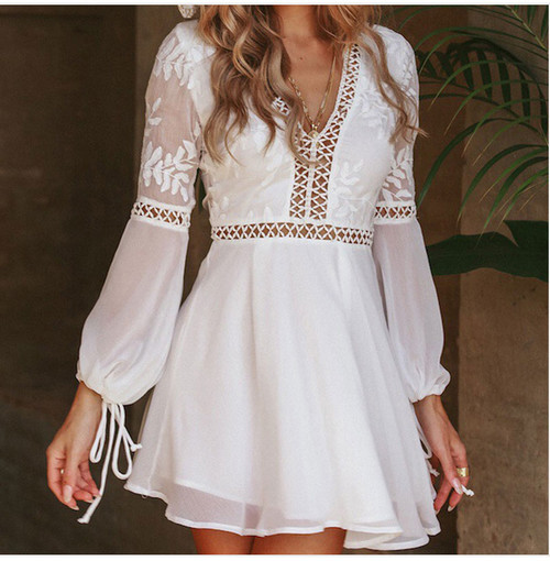 Women Chiffon V Neck Backless Mini Dress Boho Evening Party Summer Beach Casual Short Sundress Sexy Mesh Hollow Vestidos NZ1201