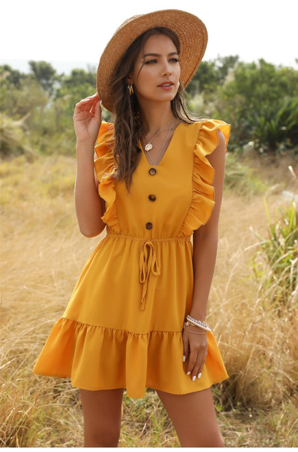 Summer Casual Lace Up Short Dress 2020 Street Style Button V-neck Butterfly Sleeve Solid Above Knee Mini Dress 2020 Neww
