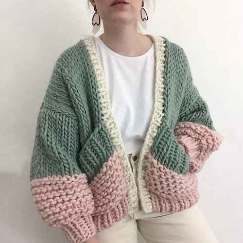 Patchwork Hit Color Knitting Sweater For Women Cardigan Lantern Sleeve Casual Autumn Sweaters Female 2020 Fashion New