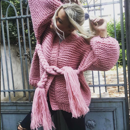 Pure handmade Women cardigan knitted sweater v neck solid beige gray pink loose long sleeve casual outwear autumn winter coat