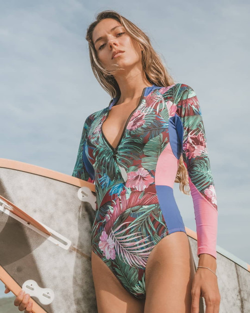Print One Piece Swimsuit Long Sleeve Swimwear Women Bathing Suit Retro Swimsuit Vintage One-piece Surfing Swim Suits