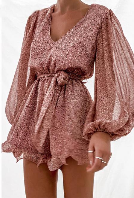 Sexy V neck Lace up Floral Print Women Chiffon Playsuit Jumpsuits Elegant Lantern sleeve Ruffles Beach Wear Overalls