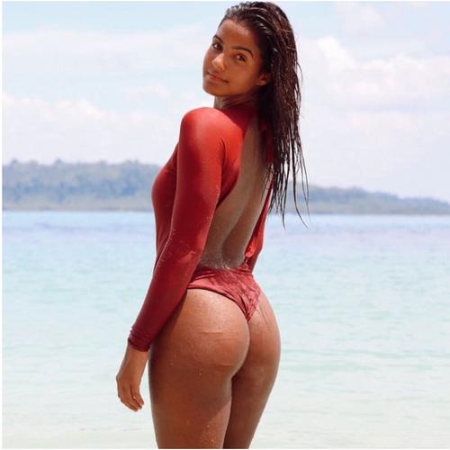 2020 Sexy Solid Snake Swimsuit One Piece Geometric Long Sleeve Swimwear Women Backless Monokini Bathing Suit Beachwear Female