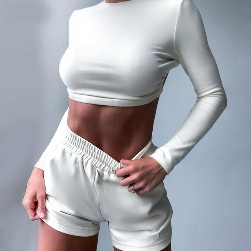 casual activity 2piece set street high quality full sleeve backless croptop short Matching set elastic sport fitness suit