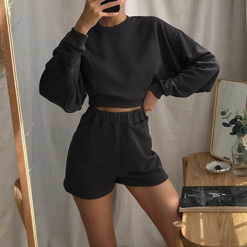 Autumn Sweat Suits Women Two Piece Outfits Baggy Long Sleeve Solid Woman Tracksuit 2 Pieces Streetwear Casual Tops Top Dark Gray