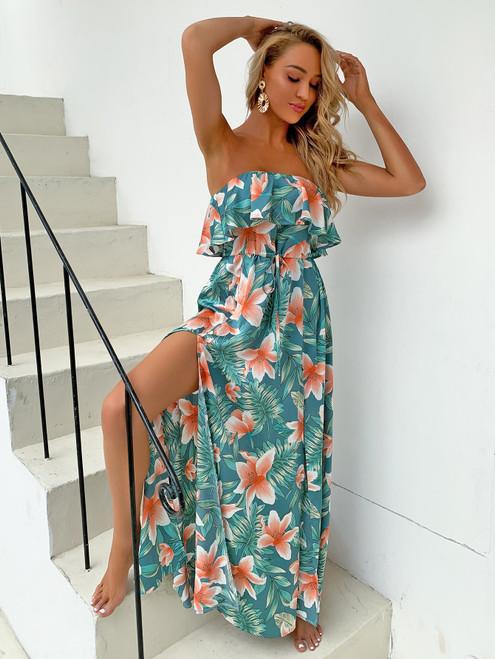 Print Floral summer Dress Women 2020 Strapless Waist Tie Ruffle Maxi Long Dress Side Split Beach Wear Boho Dresses