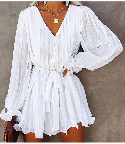 Women White Ruffle Pleated Mini Dresses Autumn Winter Long Balloon Sleeve V Neck Chiffon Day Party Dress With Waist Tie