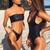 2018 Solid Bikinis Women New Black Swimwear Swimsuit Sexy Off Shoulder Bikini Bathing Suit Women Bikini Set Monokini