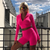 New Female Fluorescence Neon Fitness Two Pieces Sets 2018 Autumn Full Sleeve Zipper Turtleneck Tops And High Waist Shorts Suits { Pink }