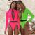 Sexy Zipper One Piece Swimsuit Neon Long Sleeve Sports Swimwear Women Belt Bodysuits Monokini High cut Bathing suit New 2020