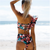 High Waist Bikini 2019 Floral Swimwear Women Bandeau Swimsuit Ruffled Beachwear Sexy Printed Bikini Set Push Up Bathing Suit