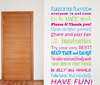 Removable wall decal.    This design is made of quality vinyl and will look fantastic in your playroom  Available in tri-colour (pink/blue/green), or entirely red.  The main example shown measures approximately 57x103cm.  With so many options available, the completed size will depend on your placement.  A clear plastic sheet of film (also known as the transfer sheet) is provided with the decal in order to transfer the design from the backing paper to the wall.  It can also be used to store and re-apply your design should you ever have the need to move it.  The letters in this design is placed on the backing paper individually.