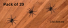 Perfect for Halloween, a great addition to your themed room, or even cheekily placed around the home.  Removable wall decals.  Pack includes 20 spiders measuring 3.8x3.8cm each  A clear plastic sheet of film (also known as the transfer sheet) is provided in order to transfer the design from the backing paper to the wall.  It can also be used to store and re-apply your design should you ever have the need to move it.