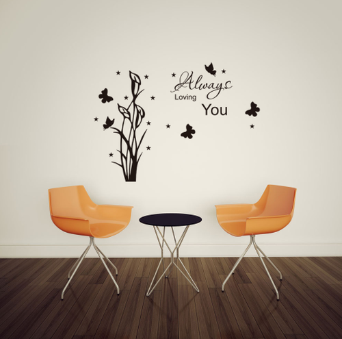 This design is made of quality vinyl and will look fantastic in any room of your home.   The example shown measures 93x68cm, but the completed size will depend on your placement  A clear plastic sheet of film (also known as the transfer sheet) is provided with the decal in order to transfer the design from the backing paper to the wall.  It can also be used to store and re-apply your design should you ever have the need to move it.  The lettering in this design is placed on the backing paper in a mixture of individual letters and completed words.