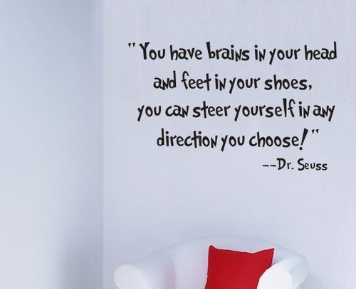 """You have brains in your head and feet in your shoes, you can steer yourself in any direction you choose!"" --Dr. Seuss  This design is made of quality vinyl and will look great in any kids room or playroom.  The example shown measures 56x35cm, but the completed size will depend on your placement  A clear plastic sheet of film (also known as the transfer sheet) is provided with the decal in order to transfer the design from the backing paper to the wall.  It can also be used to store and re-apply your design should you ever have the need to move it.  The letters in this design are placed on the backing paper individually."