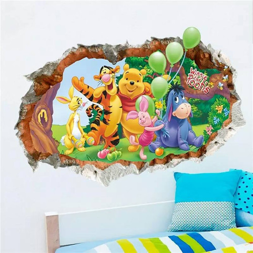 Your little one will love this breakthrough design.  It is a peel and stick design that shows Pooh and his friends crashing through the wall.  It measures 70x50cm