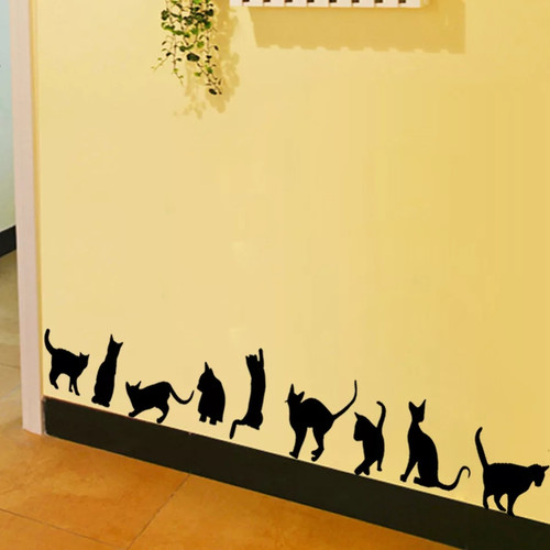These nine cute cats are made of quality vinyl and will look great in any room of your home.   They will arrive on a sheet measuring 57x30cm and can be placed individually  A clear plastic sheet of film (also known as the transfer sheet) is provided with the decal in order to transfer the design from the backing paper to the wall.  It can also be used to store and re-apply your design should you ever have the need to move it.