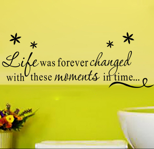 This design is made of quality vinyl and will look fantastic surrounded by your favourite memories.   The example shown measures 61x23cm, but the completed size will depend on your placement  A clear plastic sheet of film (also known as the transfer sheet) is provided with the decal in order to transfer the design from the backing paper to the wall.  It can also be used to store and re-apply your design should you ever have the need to move it.  The lettering in this design is placed on the backing paper in a mixture of individual letters and completed words.