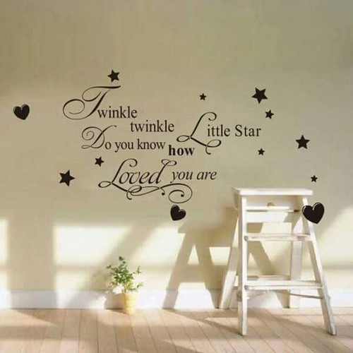 This design is made of quality vinyl and will be a beautiful addition to your little ones room.   The example shown measures 72x40cm, but the completed size will depend on your placement  A clear plastic sheet of film (also known as the transfer sheet) is provided with the decal in order to transfer the design from the backing paper to the wall.  It can also be used to store and re-apply your design should you ever have the need to move it.  The letters in this design are placed on the backing paper individually.