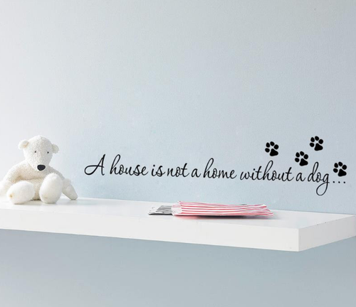 The perfect removable wall decal for the dog lover.  The example shown measures 56x13cm, but the completed size will depend on your placement  A clear plastic sheet of film (also known as the transfer sheet) is provided with the decal in order to transfer the design from the backing paper to the wall.  It can also be used to store and re-apply your design should you ever have the need to move it.  The lettering in this design is placed on the backing paper in individual completed words.