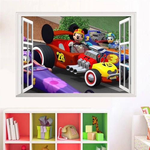 Removable wall sticker.   Who's racing past the window today?  This design will look fantastic in the kids room or playroom.  Made of quality vinyl, it measures approx 70x50cm, and is a peel & stick type