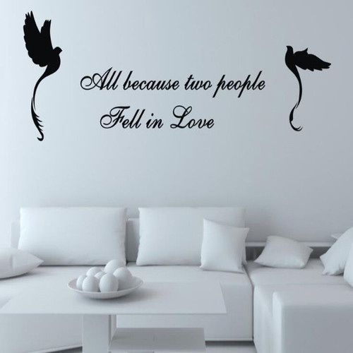Removable wall decal.  Available in black, grey and white  This design is made of quality vinyl and will look great in any room of your home.   The example shown measures 80x40cm, but the completed size will depend on your placement  A clear plastic sheet of film (also known as the transfer sheet) is provided with the decal in order to transfer the design from the backing paper to the wall.  It can also be used to store and re-apply your design should you ever have the need to move it.  The lettering in this design is placed on the backing paper in completed words