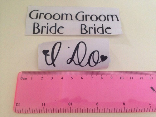 Removable decals.    These designs are made of quality vinyl and will look fantastic as part of your nuptials.  A clear plastic sheet of film (also known as the transfer sheet) is provided with the decal in order to transfer the design.