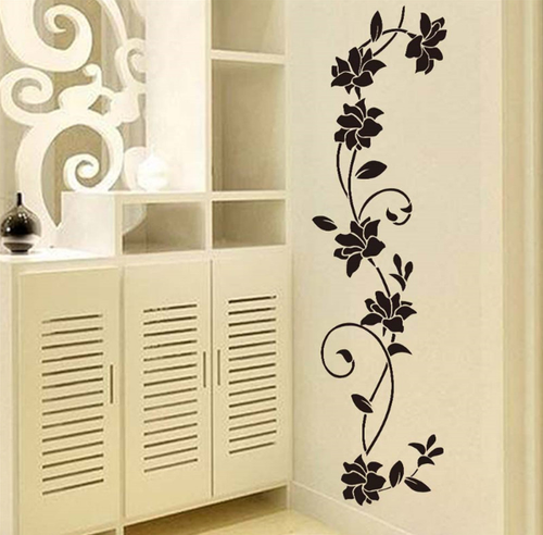 Removable wall decal.  This design is made of quality vinyl and will look great any room of your home.  The example shown measures 30x105cm, but the completed size will depend on your placement  A clear plastic sheet of film (also known as the transfer sheet) is provided with the decal in order to transfer the design from the backing paper to the wall.  It can also be used to store and re-apply your design should you ever have the need to move it.  The images in this design are placed on the backing paper as individual pieces, so the positioning possibilities are endless.