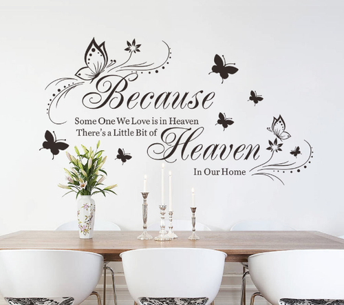 Removable wall decal.  This design is made of quality vinyl and will suit any room in your house, entrance, living area and bedroom.  The example measures 52x95cm and the completed size will depend on your placement.  A clear plastic sheet of film (also known as the transfer sheet) is provided with the decal in order to transfer the design from the backing paper to the wall.  It can also be used to store and re-apply your design should you ever have the need to move it.  The letters in this design are placed on the backing paper individually.