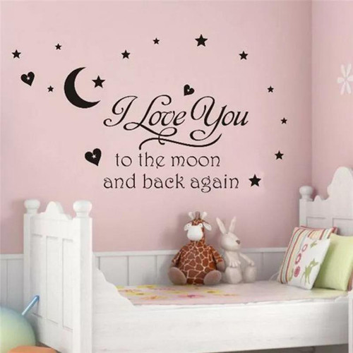 This design is made of quality vinyl and will look great in your little ones room.  The example shown measures 99x66cm, but the completed size will depend on your placement  A clear plastic sheet of film (also known as the transfer sheet) is provided with the decal in order to transfer the design from the backing paper to the wall.  It can also be used to store and re-apply your design should you ever have the need to move it.  The lettering in this design is placed on the backing paper in a combination on individual and conjoined letters.