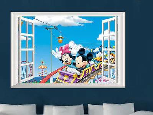 Fairground fun outside the window.  This design will look fantastic in the kids room or playroom.  Made of quality vinyl, it measures approx 60x40cm, and is a peel & stick type