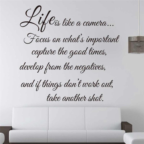 Life is like a camera  Focus on what's important, capture the good times,  develop from the negatives, and if things don't work out, take another shot  Removable wall decal.   This design is made of quality vinyl and will look great in any room of your home.  The example shown measures 57x55cm, but the completed size will depend on your placement  A clear plastic sheet of film (also known as the transfer sheet) is provided with the decal in order to transfer the design from the backing paper to the wall.  It can also be used to store and re-apply your design should you ever have the need to move it.  The lettering in this design is placed on the backing paper in a mixture in completed words.