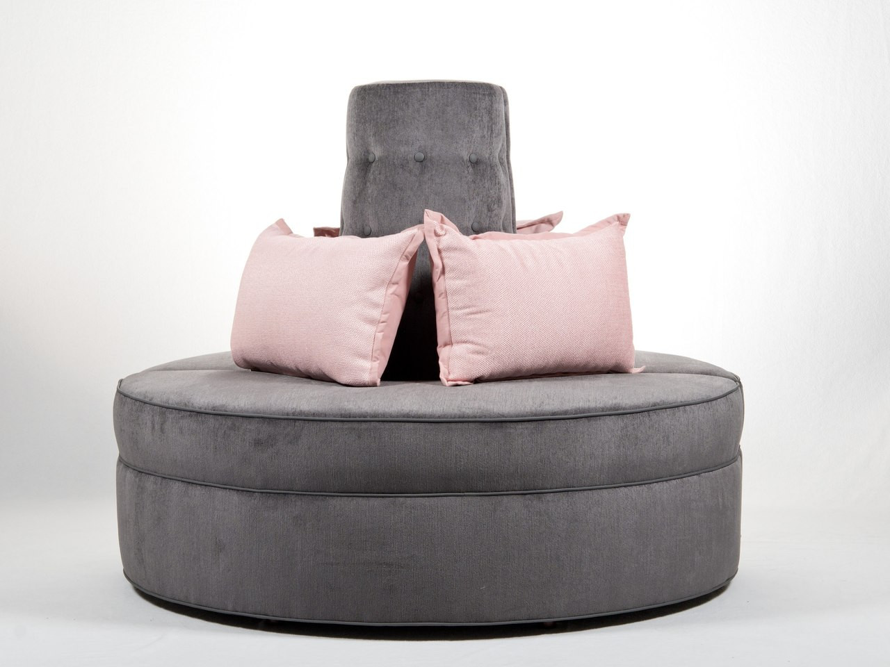 Round Banquette Settee Lobby Sofa In Gray Chenille Fabric