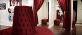 Proudly presenting Wear Moi flaship store in Chicago,IL featuring our Red Velvet Round Settee Sofa