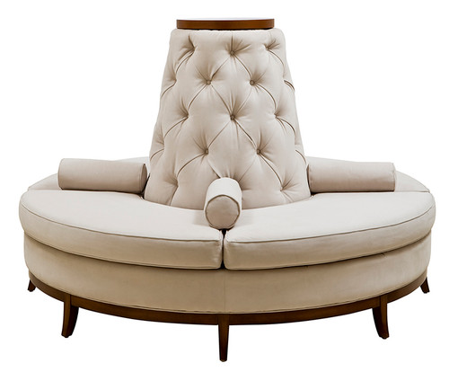 Leather Match Center Banquette with Armrests